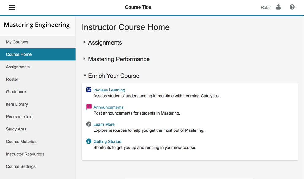 Mastering Engineering and Mastering Computer Science home screen